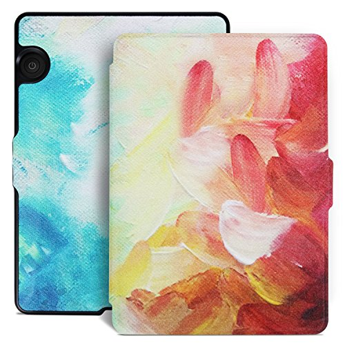 Aimerday Original Painting Smartshell Folio Kindle Voyage Case - The Thinnest and Lightest Protective PU Leather Cover for Amazon Kindle Voyage with Auto Sleep/Wake Drawingoil