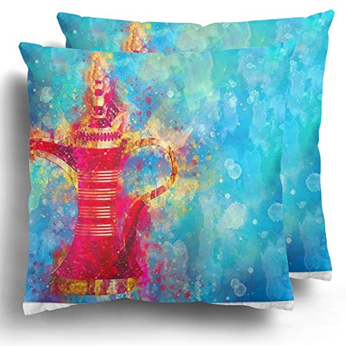 Starohou Throw Pillow Cover 2 Pack Painting Arabian Dallah Watercolor Ruby Red Brass Traditional Coffe Pot Hospitality Cushion Case for Couch Bed Home Decor 20 x 20 Inches