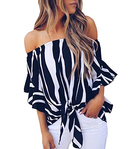 Women's Chiffon Off Shoulder Cute Loose Blouse Crop Tops Shirt Black XL