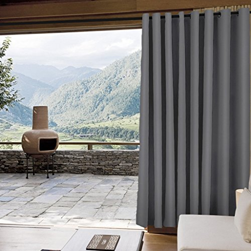 IYUEGO Outdoor Curtain Blackout Curtain Antique Coppor Grommet Eyelet Grey 100