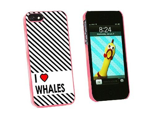 Graphics and More I Love Heart Whales Snap-On Hard Protective Case for iPhone 5/5s - Non-Retail Packaging - Pink
