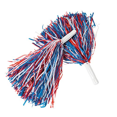 Fun Express - Red/White/Blue Pom Poms for Fourth of July - Toys - Active Play - Pom - Poms - Fourth of July - 12 Pieces -