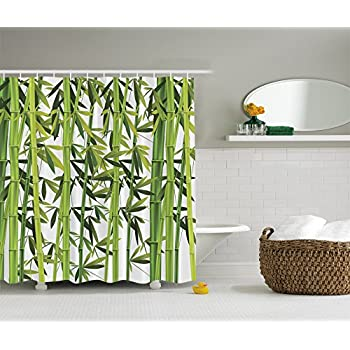 Nature Shower Curtain Bamboo Trees Green Art Prints Wildlife High Resolution Bath Home Textile Design Spa Bathroom Decor Special Collection Green White