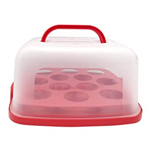 11 Inch Portable Square Cake Carrier with Handle and Cupcake Holder Tray Pie Saver Cupcake Container Translucent Dome for Transporting Cakes, Cupcakes, Cookies, Pies, or Other Desserts Red