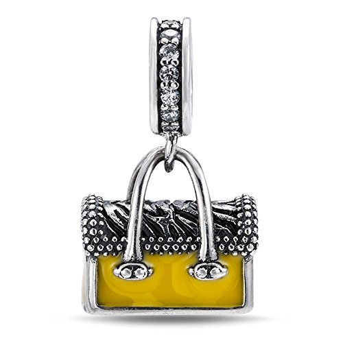 rling Silver Yellow Enamel Saddle Pendant DIY Silver Bag Pendant Fit Pandora Chain or Bracelet (Enamel Number Pendant)