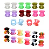 Jovivi Pack of 28 Mixed Colors Ultra-thin Soft Silicone Double Flared Flexible Flesh Tunnel Plugs Gauges 0G