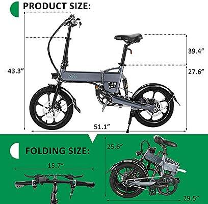FIIDO D2 Bicicleta eléctrica Plegable de 16 Pulgadas con Pedales, Bicicleta eléctrica Plegable de 36V 250W con batería de Iones de Litio de 7.8Ah, Bicicleta Liviana Urbana para Adolescentes y Adultos: Amazon.es: