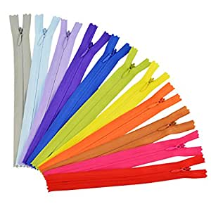 50pcs 7.8 Inch Sewing Zippers, Jmkcoz Nylon Invisible Zippers Tailor Sewer Craft for Sewing Assorted Colors Tailor Sewing Tools Garment Accessories Crafter's Special