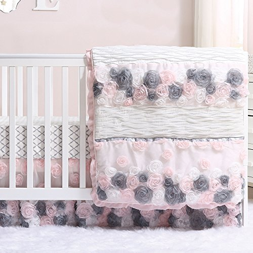 Satin Crib Bedding Set - Colette Pink and Grey Floral 3 Piece Crib Bedding Set by The Peanut Shell