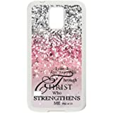 Samsung Galaxy S5 SV Case Cover - I Can Do All Things Through Christ Who Strengthens Me Philippians 4:13 - Bible Verse Pink Sparkles Glitter Pattern Samsung Galaxy S5 SV Case Covers Anti-Scratch Extreme Protection Compatible with Samsung Galaxy S5 SV TPU(Laser Technology)