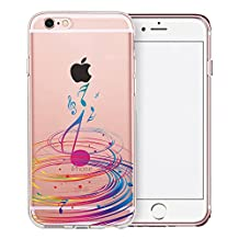 iPhone 6S Plus Case, SwiftBox Clear Case with Design for iPhone 6/6S Plus with Tempered Glass Screen Protector (Colorful Music)