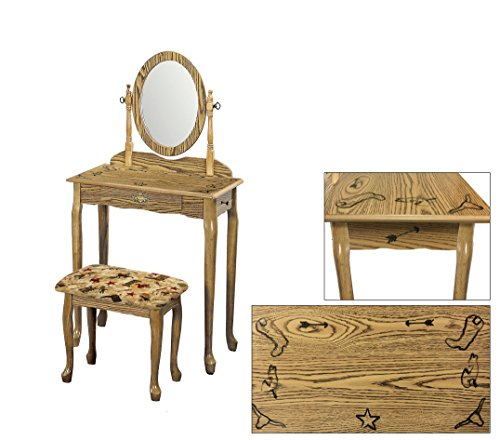 Light Oak Finish Queen Anne Vanity Table with Real Branding Iron Designs and a Westerm Themed Fabric Covered Bench Cushion (Rodeo) ()