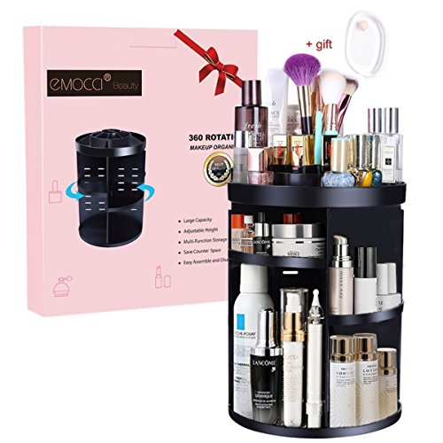 Makeup Cosmetic Organizer EMOCCI 360 Degree Rotating Adjustable Cosmetics Storage Box Case 7 Layers Large Capacity Make Up Holder Vanity Shelf Fits Bath Counter Bathroom Accessories(Black) Beauty Accessories