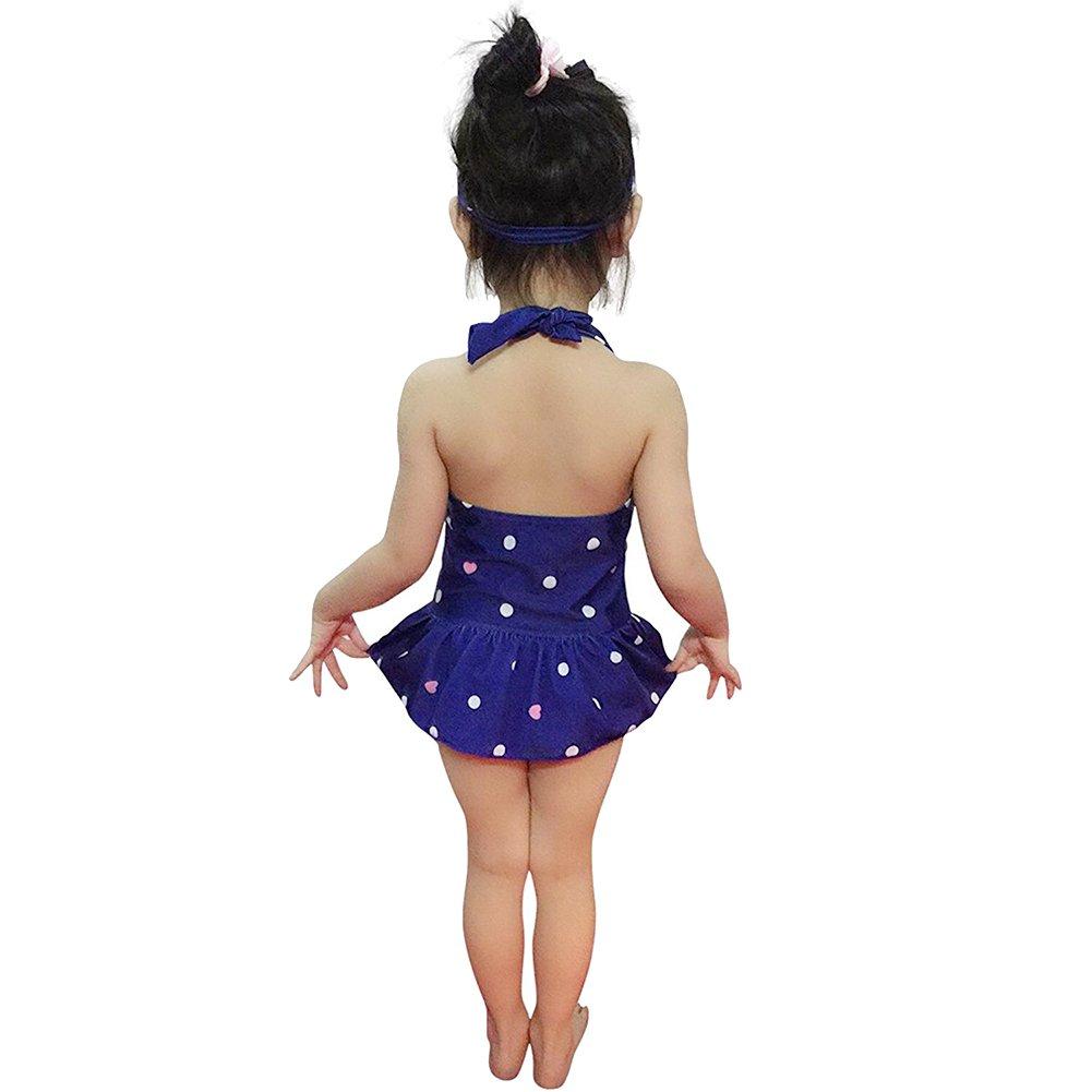 Baby Toddler Kid Girls Ruffle One Piece Halter Swimsuit Polka Dot Bathing Suit Swimwear Tankini with Headband