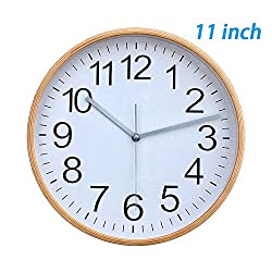 Classic Handmade Silent Wall Clock, T&HOME 11 Inches Quiet Wood Wall Clocks Battery Operated Simple Sweep No the tick-tock Decorative for Office, Home, Kitchen, Bedroom & Living Room, White