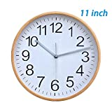 KAMEISHI Classic Handmade Silent Wall Clock, 11 Inches Quiet Wood Wall Clocks Battery Operated Simple Sweep No the tick-tock Decorative for Office, Home, Kitchen, Bedroom & Living Room, White