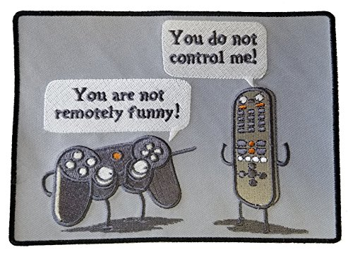 Controlling Funny Video Game Controller & TV Remote Arguing - Novelty Iron On Patch Applique