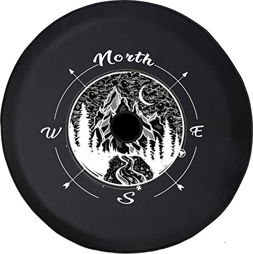 Pike Outdoors JL Series Spare Tire Cover with Backup Camera Hole Compass Geometric Mountain Scene Night Sky Travel Black 33 in