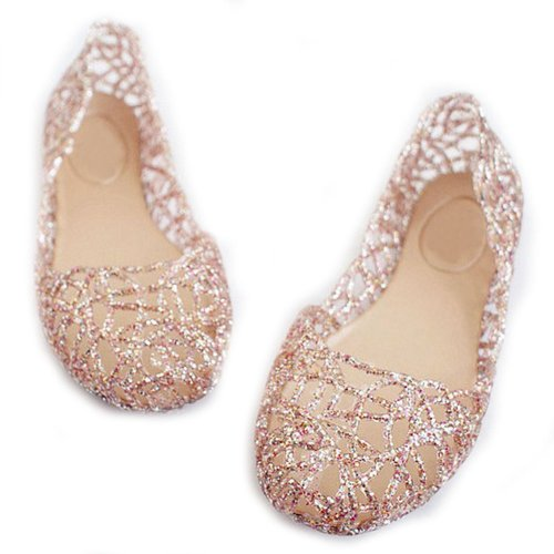 Fulinken Women's Crystal Shoes Bride Flat Ballerina Women Shoes Slip on Sandals (7.5, Pink)