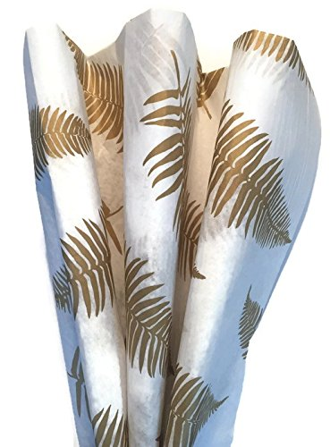 Printed Tissue Paper for Gift Wrapping with Design (ELEGANT GOLDEN FERNS), 24 Large Sheets (Fern Printed)