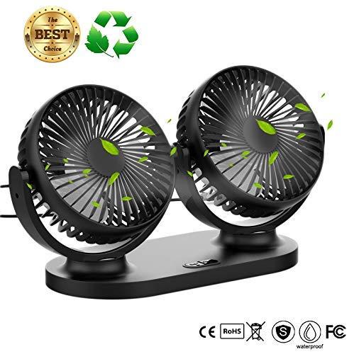 (USB Desk Fan,Twins Car Fan 3 Speeds 360º Pivot Desktop Cooling Fan Air Circulator High Velocity Fan for Office,Home,Car - Portable Fan)