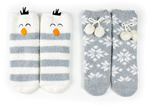 Red Bene Women's Animal Fuzzy Socks Set Penguin Gift Box (Penguin Gift Box)