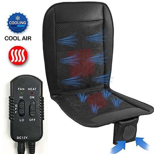 Big Ant Cooling Car Seat Cushion with Heated, Car Seat Cooling Pad, Air Conditioned Seat Cover with Car Fan for Car Truck Home and Office (Black - 1PC)