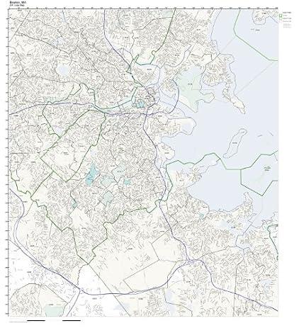 ZIP Code Wall Map of Boston, MA ZIP Code Map Laminated