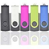 Flash Drive 16GB, Flash Memory Stick ARETOP USB2.0 Pendrive Thumb Drives Pen Drive Fold Date Storage (Bulk 5 PCS-Mixcolour: Black/Silver/ROSEO/Green/Blue)