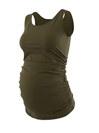 7209de13ca46d Liu & Qu Maternity Basic Tank Top Mama Clothes Sleeveless Women's Solid  Side Ruching Vest Army