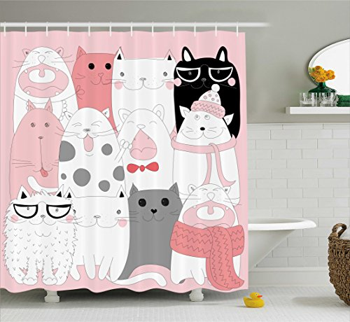Ambesonne Cat Shower Curtain, Cute Cartoon Kittens Funny Smiling Glasses Scarfs Doodle Humorous Design, Cloth Fabric Bathroom Decor Set with Hooks, 75 Inches Long, Pale Pink White Black
