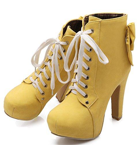 YE Damen Ankle Boots Blockabsatz High Heels Plateau Stiefel mit Schnürung und 11cm Absatz Elegant Herbst Winter Schuhe Gelb