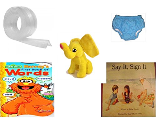 Children's Gift Bundle - Ages 0-2 [5 Piece] Includes: Kidkusion Clearly Safe Edge Cushion, Clear, 6', Circo Infant Reusable Swim Diaper Blue Size S 6 Months 13-18 lbs, Yellow Elephant Plush, Sesame by Secure-Order-Marketplace Gift Bundles