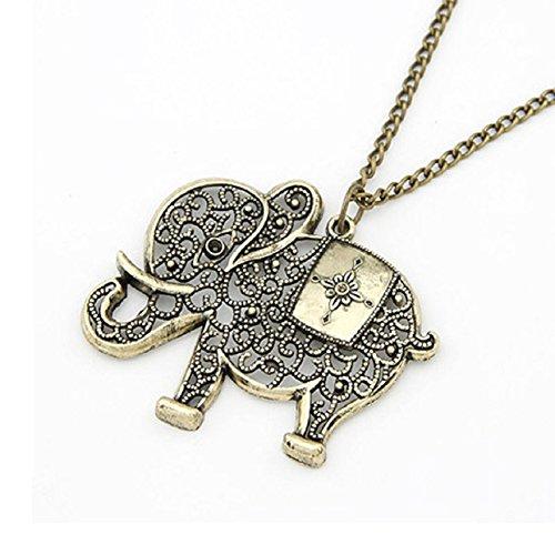 Lowpricenice(TM)Women Girl Simple Retro Bronze Elephant Chain Necklace Pendant Jewelry