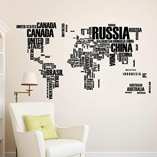 High-Season Black letters, world map, wall stikers, living room decor, bark office and wall art, removable house (Antique Heart Pine)