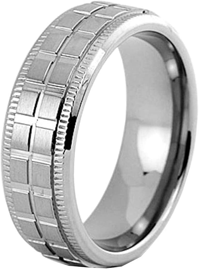 FlameReflection 7mm Mens Titanium Ring Wedding Band Brushed Top Step Edge Groove Center