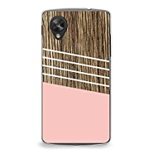 Case for Nexus 5, CasesByLorraine Wood Print Coral Pink Geometric Striped Case Plastic Hard Cover for LG Google Nexus 5 (G02)