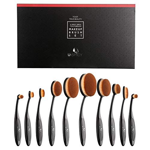 Makeup Brush Set, USpicy Professional 10 Pieces Oval Makeup Brushes With Refined Gift Box, Soft Toothbrush Shaped Design For Foundation, Concealer, BB cream, Powder (Best Oval Makeup Brush Brand)