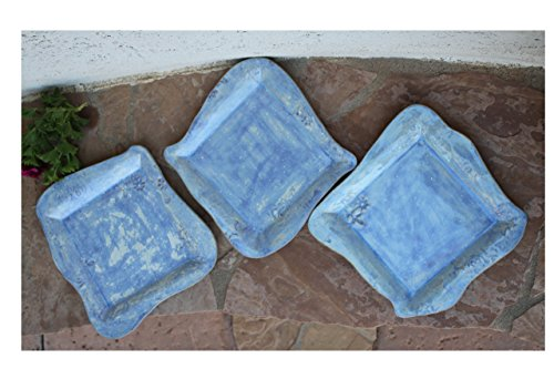 Blue Square Dinner Plate set of 3, handmade ceramic plates, pottery dinnerware