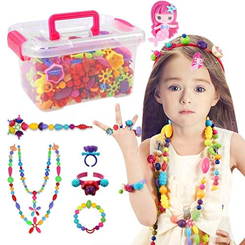 Conleke Pop Snap Beads Set 500 PCS for Kids Toddlers Creative DIY Jewelry Toys - Making Necklace,Bracelet and Ring - Ideal Christmas Birthday Gifts for 4,5,6,7,8 Year Old Girls ()