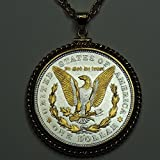 Old 1921 U.S. Silver dollar (Eagle) Gorgeously 2-Toned (Uniquely Hand done) Gold & Silver coin Necklaces for women men girls girlfriend boys teen girls