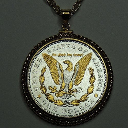 Old 1921 U.S. Silver dollar (Eagle) Gorgeously 2-Toned (Uniquely Hand done) Gold & Silver coin Necklaces for women men girls girlfriend boys teen girls by J&J Coin Jewelry