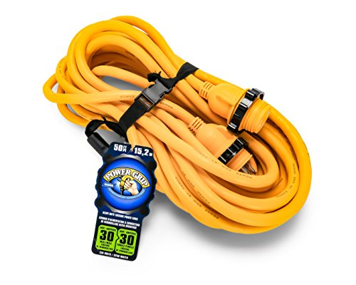 Camco 50' 55613 50' PowerGrip Marine Extension Cord with 30M/30F Locking Adapter ()
