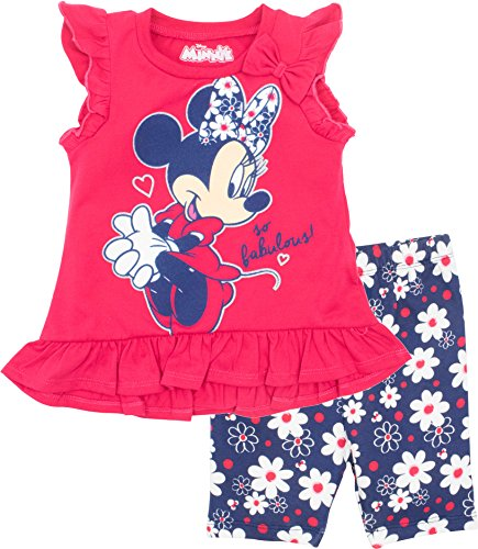 Disney Minnie Mouse Baby Infant Girls' T-Shirt & Bike Shorts Set, Red (12 Months) Disney Clothes