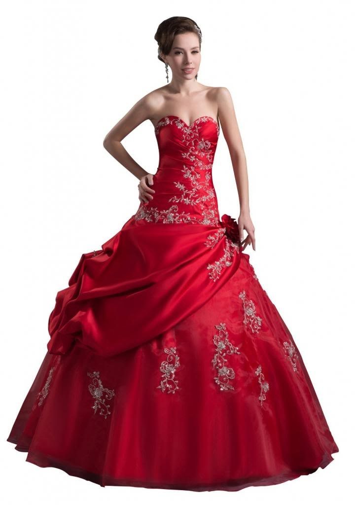 Orifashion Dramatic Red Fit and Flare Bridal/Wedding Dress EDSHER0043, US Size 6