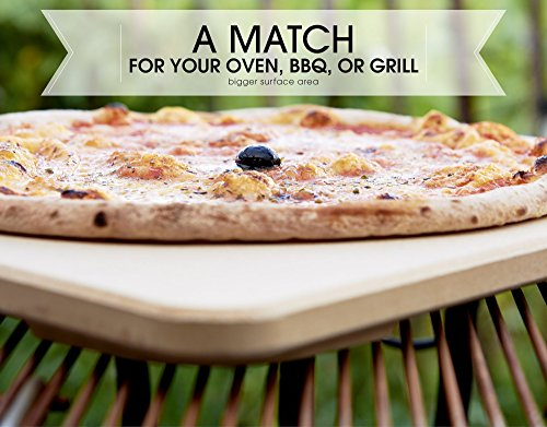 #1 Pizza Stone - Baking Stone. SOLIDO Rectangular 14'x16' - Perfect for Oven, BBQ and Grill