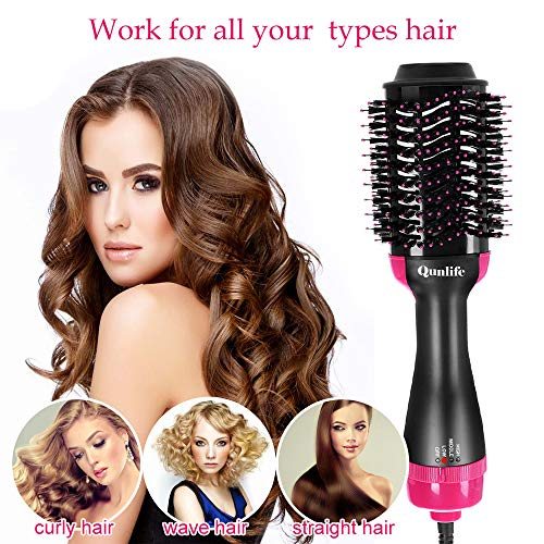 Hot Air Brush,One Step Hair Dryer Brush Styler Volumizer Multi-functional 3-in-1Salon Negative Ion Hair Straightener Curly Hair Comb Reduce Static with Anti-Scald Feature for All Hair Types
