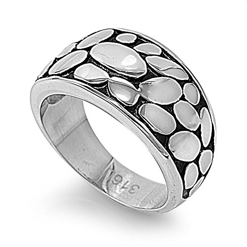 Abstract Design Ring - Stainless Steel Stone Abstract Design Ring Size 9