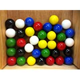 """Mega Marbles Set Of 36 1"""" SHOOTER Marbles Solid Colors (6 Of Each Color)"""