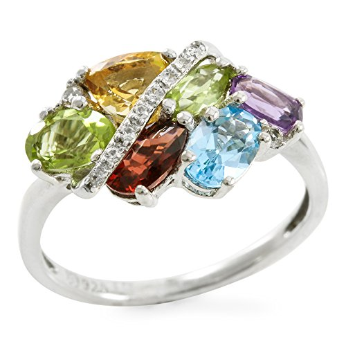 Designer Trilliant Ring (Glamouresq Sterling Silver Natural Multi-Color and Multi-Shaped Set Gemstone Women's Ring, Size 7)